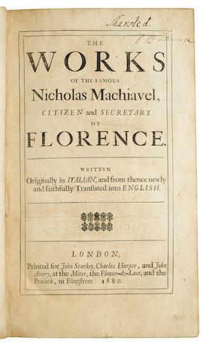MACHIAVELLI, NICCOLO. 1469-1527. The Works. London: for John Starkey, Charles Harper, and John Amery, 1680.