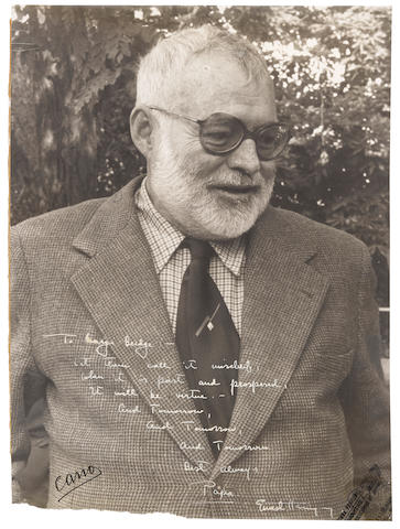 "HEMINGWAY, ERNEST. 1899-1961. Photograph Signed (""Ernest Hemingway"") and inscribed, 15-3/4 x 11-1/2 inches, gelatin silver print, a three-quarter length portrait by Francisco Cano, Madrid, [1959],"