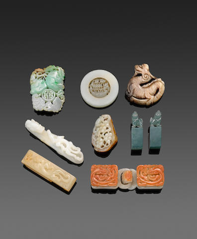a group of Nine jade and hardstone objects