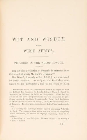 BURTON, RICHARD. 1821-1890.  Wit and Wisdom from West Africa.  London: Tinsley Brothers, 1865.