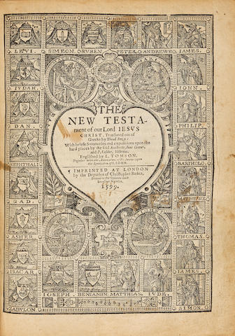 BIBLE IN ENGLISH. The Bible, that is the Holy Scriptures conteined in the Olde and New Testament. London: Deputies of Christopher Barker, 1599.