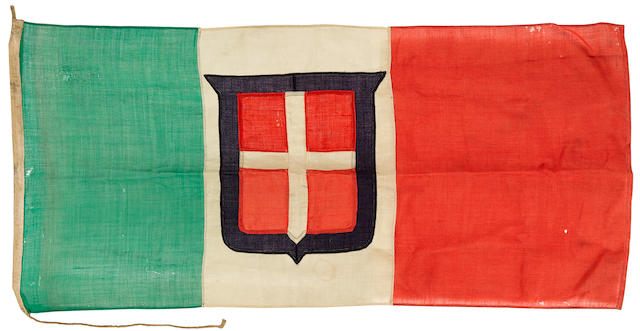BATTLE OF EL QUETTAR, TUNISIA: CAPTURED 'KINGDOM OF ITALY' NATIONAL FLAG, FROM THE 131ST ARMOURED CENTAURO DIVISION. An American-captured, Italian National flag from the Battle of El Quettar, 680 x 1410 mm.