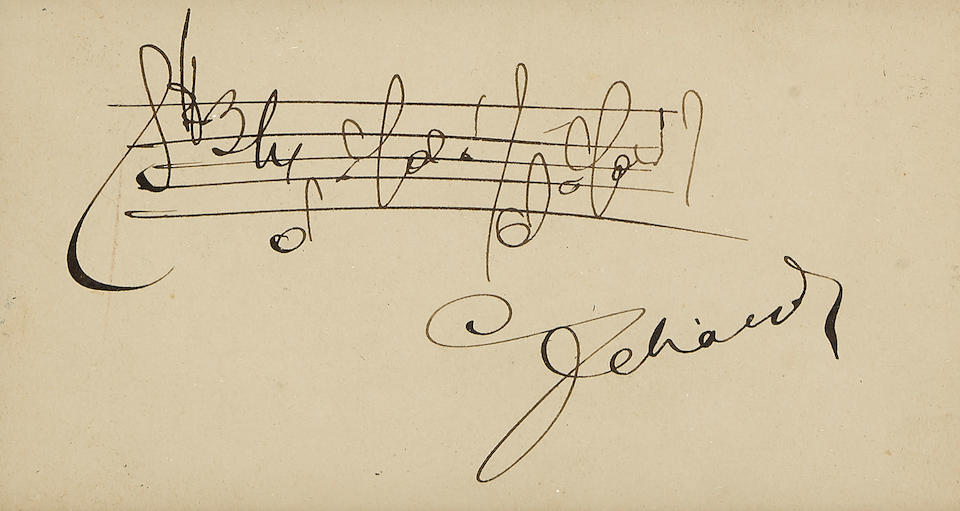 "LEHAR, FRANZ. 1870-1948. 2 Autograph Musical Quotations Signed (""Lehar""),  both 1 p, 12mo (140 x 115 mm), Vienna, March 16, 1923 (the other undated), the first inscribed to ""Herrn Dr Minz,"""