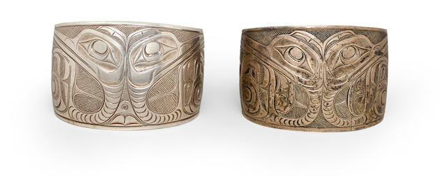 A pair of Haida silver bracelets, attributed to Charles Edenshaw