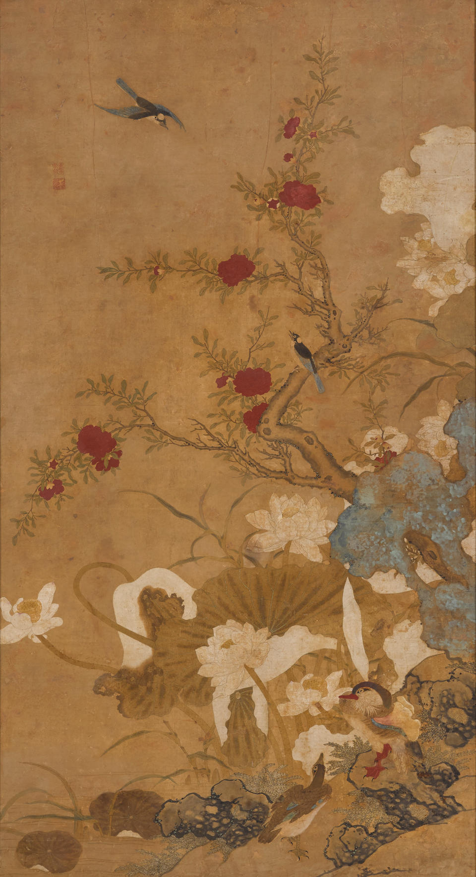 Anonymous (Qing dynasty) Two large paintings of Flowers, Birds and Rockwork
