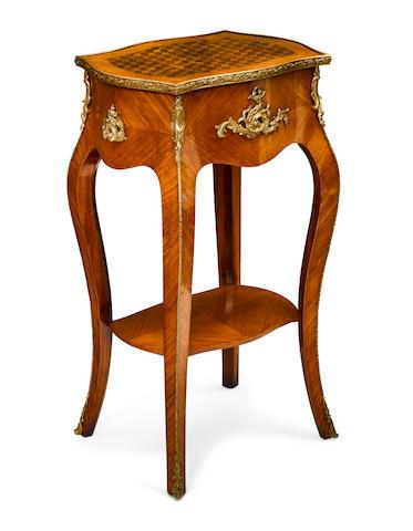 A Louis XV style gilt bronze mounted kingwood tea poy late 19th century