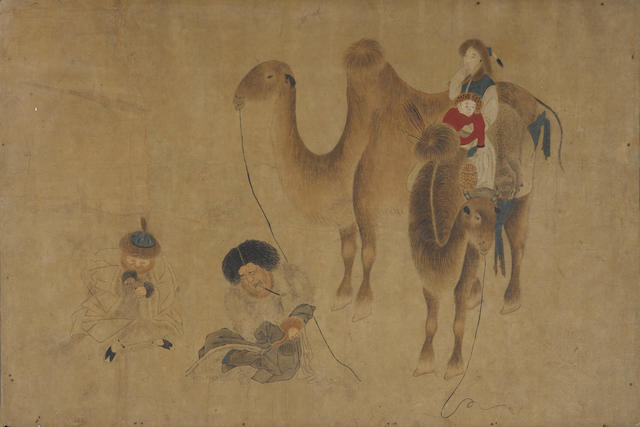 Anonymous (19th/20th century)  Travelers with Camels