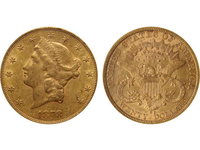 1878-CC $20 AU55 NGC