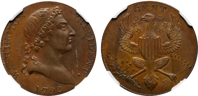1792 Washington Roman Head Cent, Proof 65 Red and Brown PCGS.