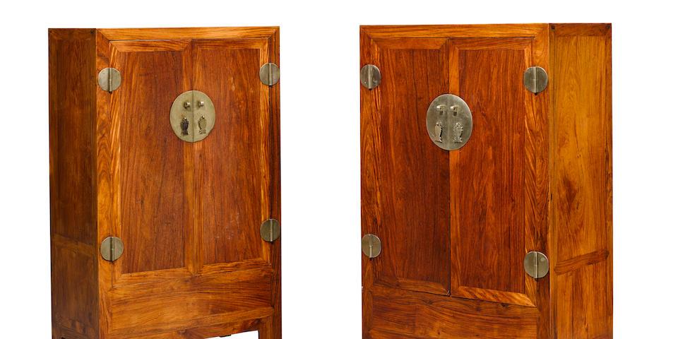 A pair of huanghuali cabinets, fangjiaogui Late Qing/Republic Period