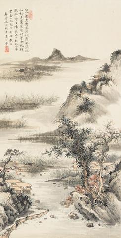 Zhu Zhuyun (1892-1952) River Landscape, 1948