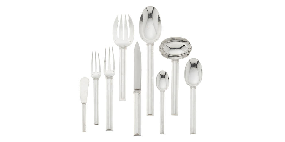 A French first standard silver Modernist flatware service for twelve by Jean Puiforcat, Paris,  designed circa 1928