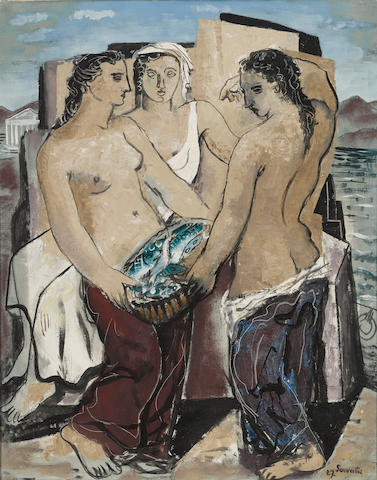 Jean Souverbie (French, 1891-1981) Le bonheur du marin 36 1/4 x 28 3/4in (92 x 73cm)  (Painted in 1927)