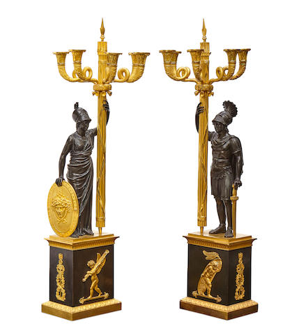 An impressive pair of Empire gilt and patinated bronze figural six light candelabra after a model by Gérard-Jean Galle possibly Baltic, circa 1820