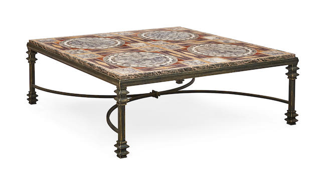 A Specimen Marble And Wrought Iron Coffee Table Post 1950