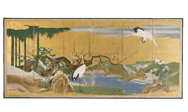 Anonymous Kano School (19th century) Cranes in a Winter Landscape