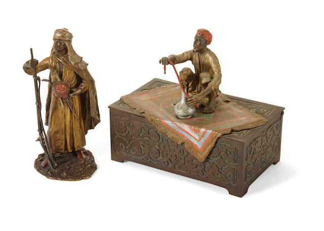 An Austrian cold painted bronze figural tobacco box and a Franz Bergman figure of a North African Warrior early 20th century
