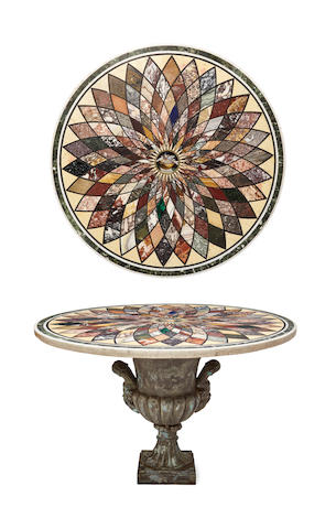 A good Italian micromosaic and specimen marble table top 19th century