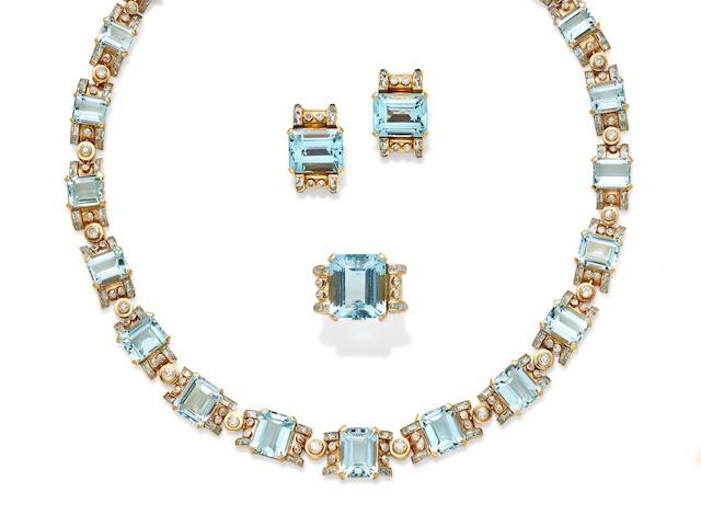 A Retro aquamarine, diamond and gold suite,