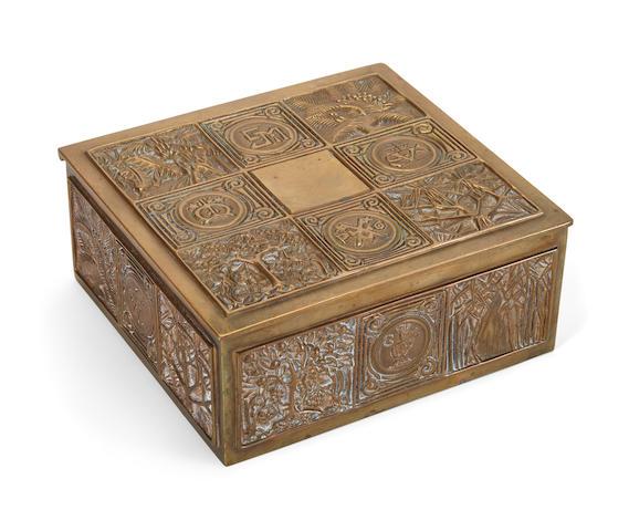 A Tiffany Studios bronze cigar box in the Bookmark Pattern1899-1918