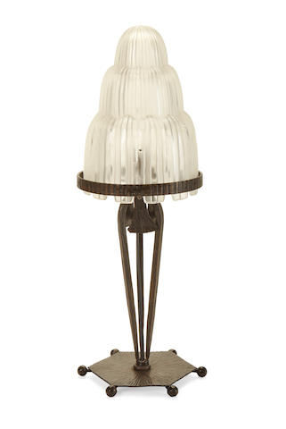 A Sabino Frosted glass and wrought iron table lamp