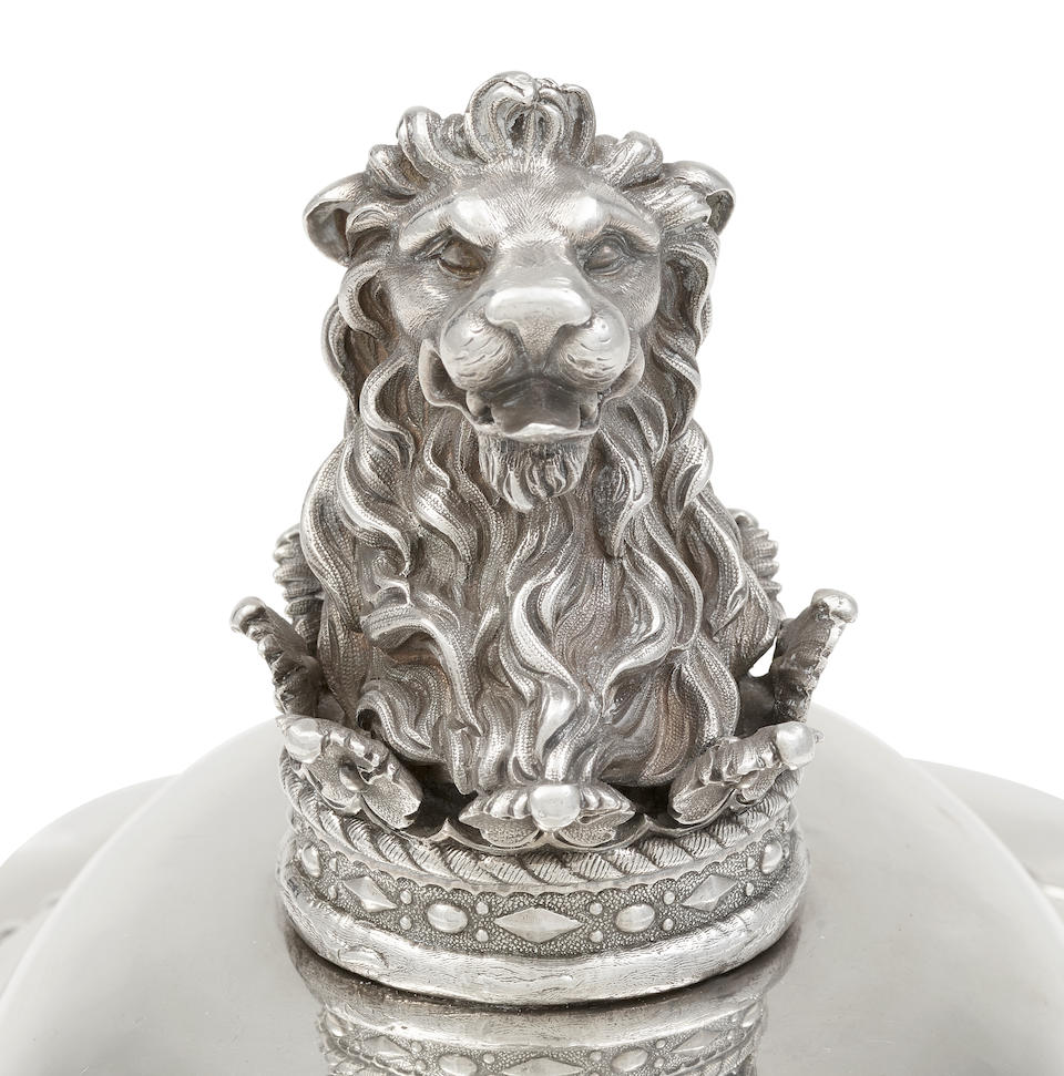A George IV  sterling silver  oval covered meat dish and mazarine from the Dudley Service by Robert Garrard II, London, 1823-24