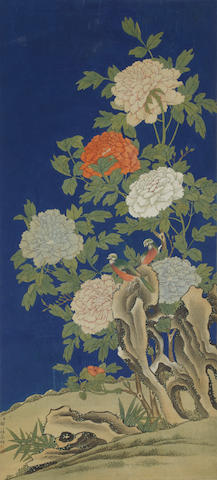 Anonymous (19th/20th century)  Peonies and Paired Birds