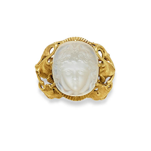 A turn of the century moonstone and 14k gold brooch,  Walton & Co.