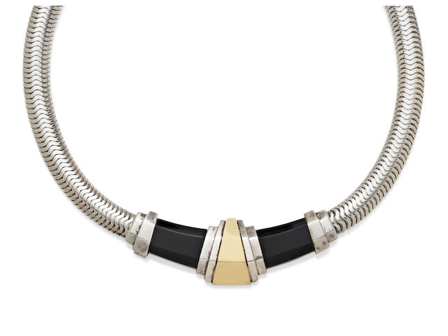 A black onyx, silver and 18k gold necklace, Cartier,