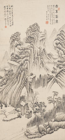 Attributed to Xi Gang (1746-1803) Ink Landscape