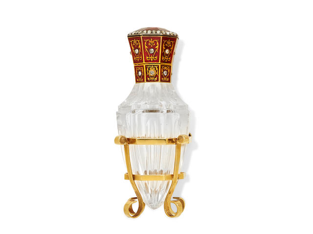 A diamond, citrine, enamel, glass and 18k gold perfume flask, French,