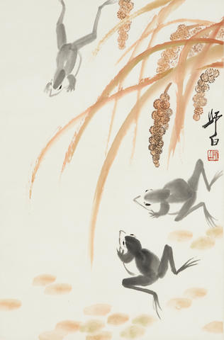 Lou Shibai (1918-2010) Frogs and Millet