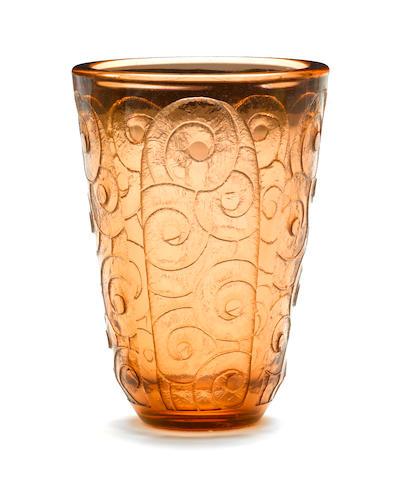 A Charder Le Verre FRANÇAIS acid cut rose pink glass vasecirca 1925 Signed Charder Le Verre Françaisheight 10in (25.4cm)
