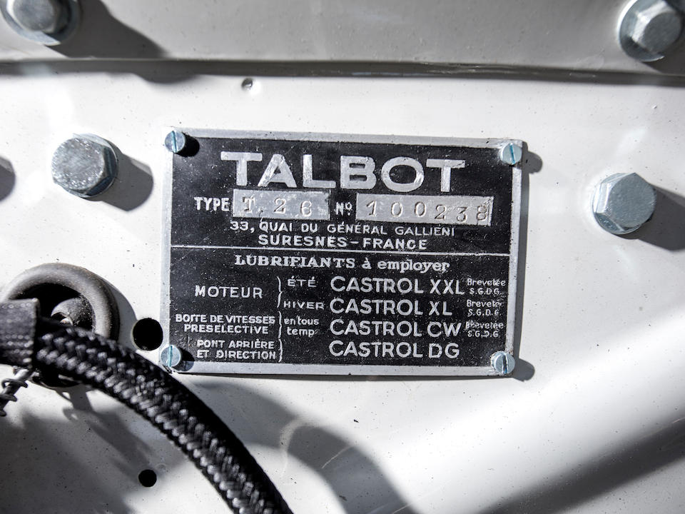 <b>1948 Talbot-Lago T26 Record Sport Coupe de Ville</b><br />Chassis no. 100238<br />Engine no. 26347
