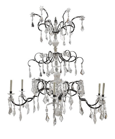 An impressive Rococo style wrought iron, rock crystal and glass six light chandelier second half 20th century