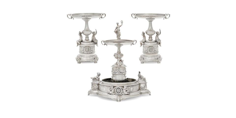 An impressive Austrian  800 standard silver three-piece figural table garniture by Josef Carl Klinkosch, Vienna,  fourth quarter 19th century