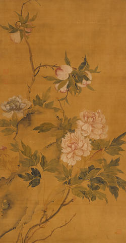Anonymous (19th century) A large painting of Peonies and Rock