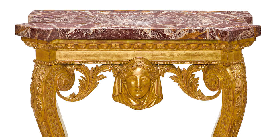 A good George II carved giltwood pier table in the manner of William Kent second quarter 18th century