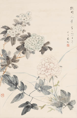 Qi Gong (1912-2005) Flowers in Ming style, 1985