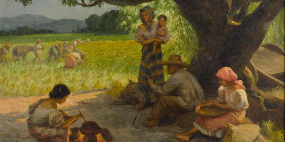 Fernando Amorsolo Y Cueto (Philippines 1982-1972)  A Family Resting Under a Mango Tree, 1951