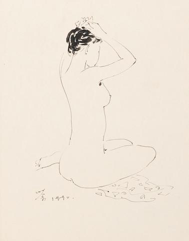 Wu Guanzhong (1919-2010)  Sketch of a Female Nude