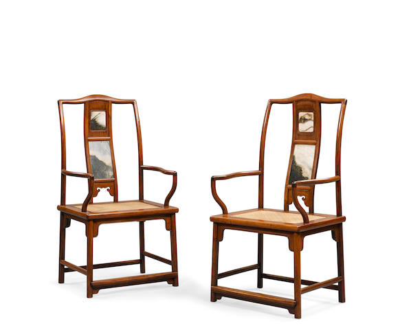 A pair of hardwood armchairs with dream stone back splats  19th/early Republic period
