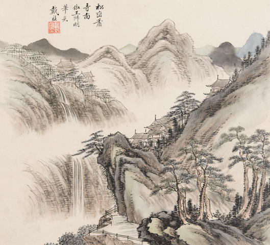 Attributed to Dai Xi (1801-1860)  An album of Twelve Landscapes