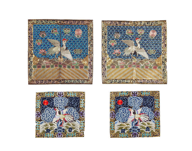 Two pairs of embroidered civil rank badges Late Qing/Republic period