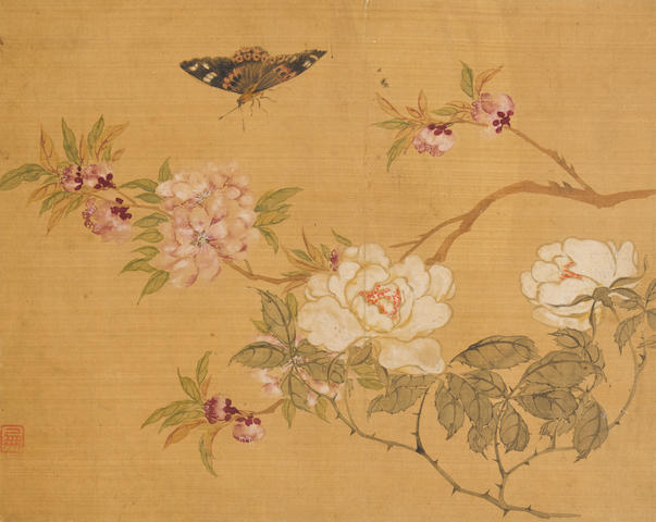 Unknown Artists (19th/20th century) Three paintings of Birds, Flowers and Insects