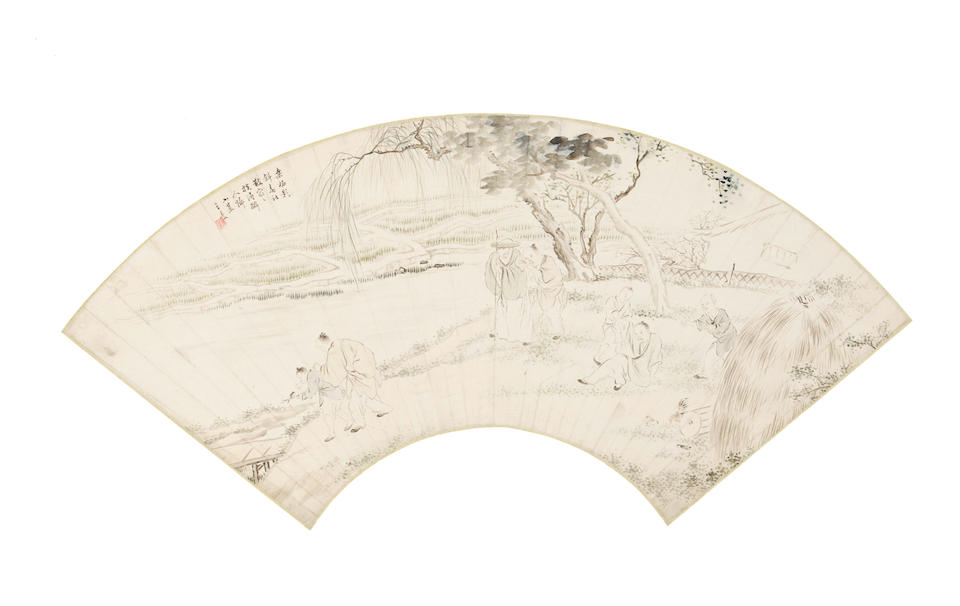 Various Artists (19th/20th century)  Two fan paintings of Landscape with Figures and Calligraphy