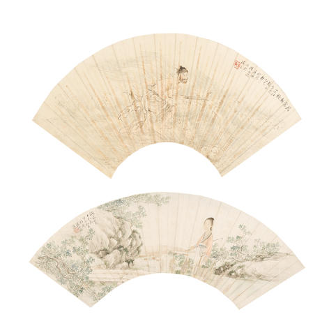 Various Artists (19th/20th century) Two folding fan paintings of Figures