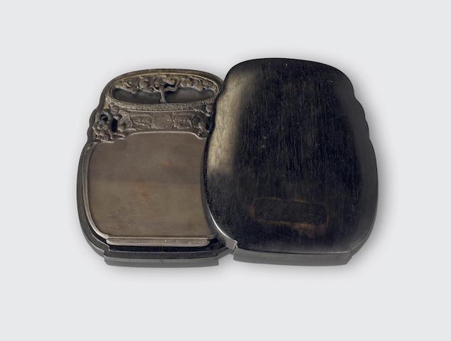 A carved duan inkstone and hardwood box Guangxu mark