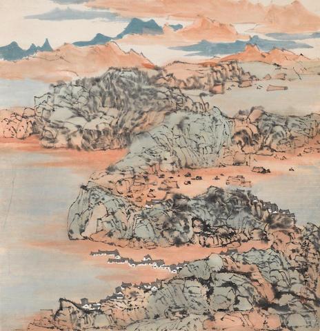 C. C. Wang (Wang Jiqian, 1907-2003)  Landscape, 1987