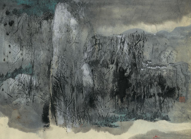 C. C. Wang (Wang Jiqian, 1907-2003)  Village in the Mountains